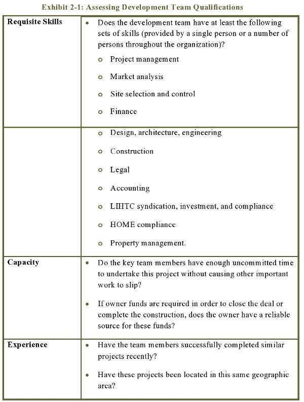 Exhibit 2-1: Assessing Development Team Qualifications